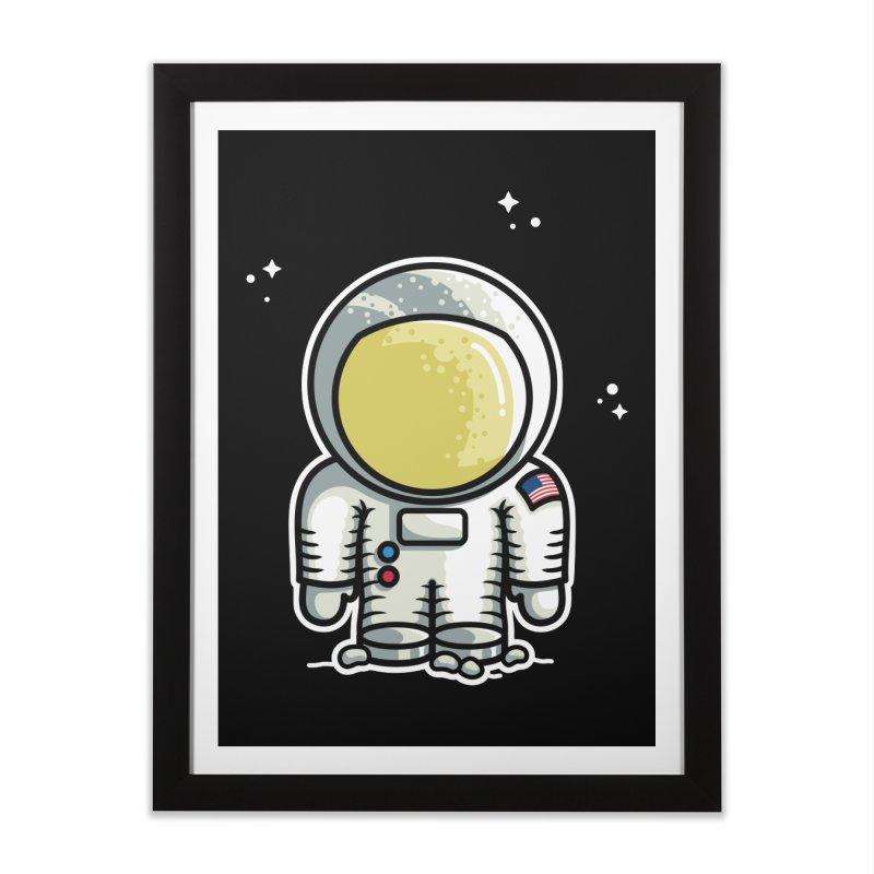 Cute Astronaut Home Framed Fine Art Print by Flaming Imp's Artist Shop