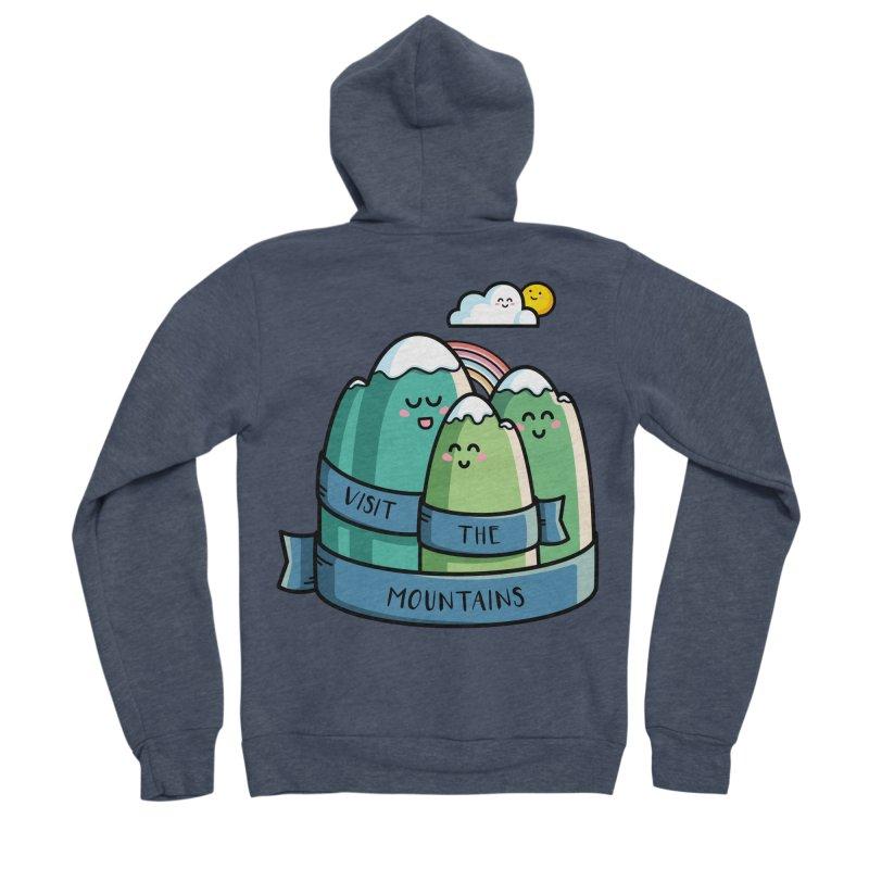 Visit the mountains Men's Sponge Fleece Zip-Up Hoody by Flaming Imp's Artist Shop