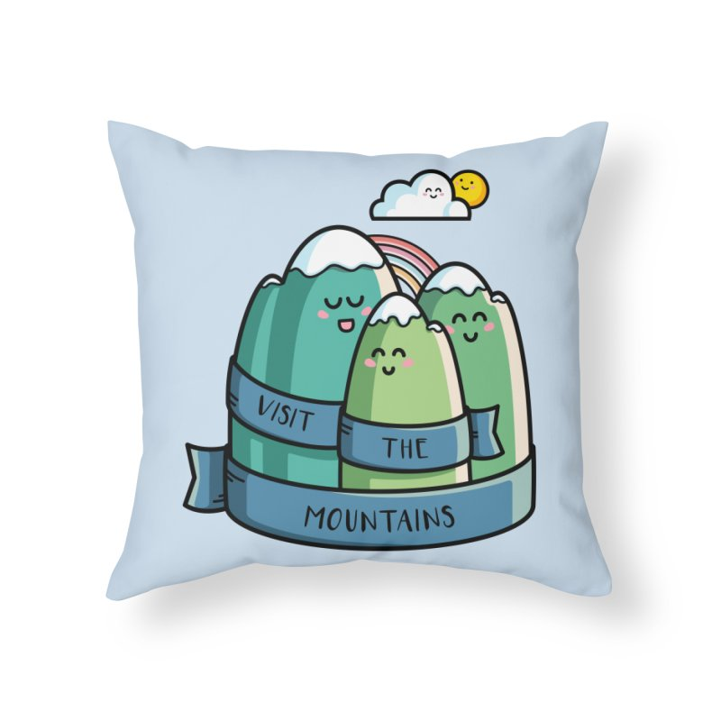 Visit the mountains Home Throw Pillow by Flaming Imp's Artist Shop