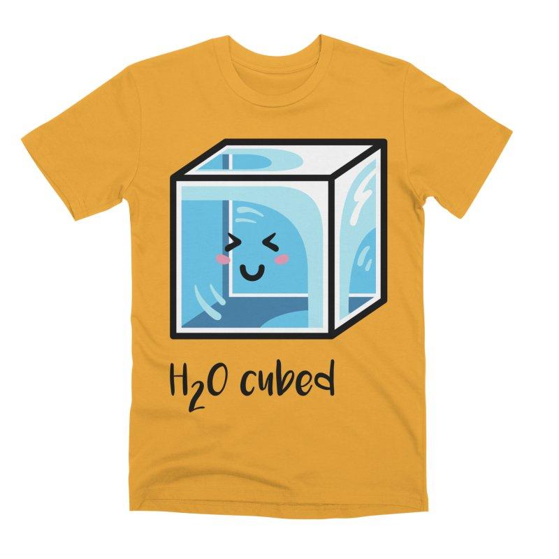 H2O Cubed Ice Block Chemistry Science Joke Men's Premium T-Shirt by Flaming Imp's Artist Shop