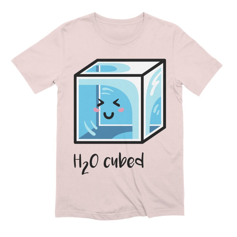H2O Cubed Ice Block Chemistry Science Joke Men's Extra Soft T-Shirt by Flaming Imp's Artist Shop