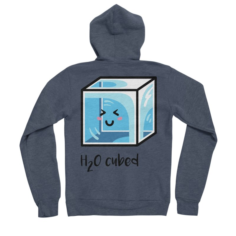 H2O Cubed Ice Block Chemistry Science Joke Men's Sponge Fleece Zip-Up Hoody by Flaming Imp's Artist Shop