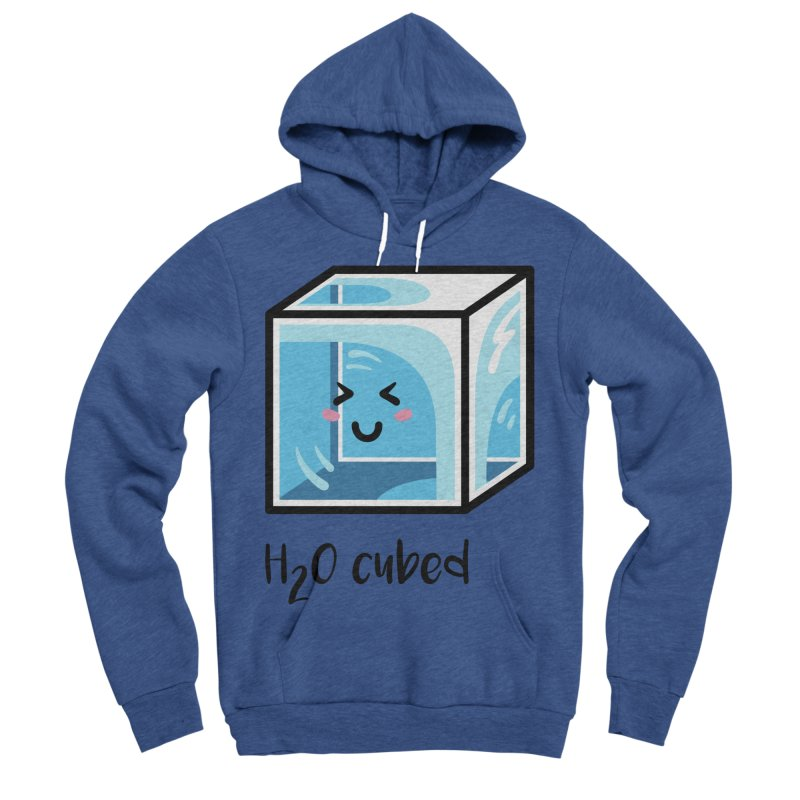 H2O Cubed Ice Block Chemistry Science Joke Men's Sponge Fleece Pullover Hoody by Flaming Imp's Artist Shop