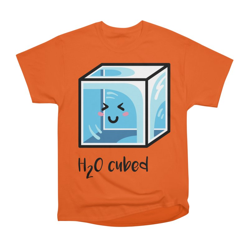 H2O Cubed Ice Block Chemistry Science Joke Men's Heavyweight T-Shirt by Flaming Imp's Artist Shop