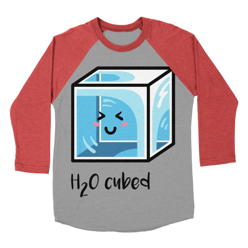 H2O Cubed Ice Block Chemistry Science Joke Women's Baseball Triblend Longsleeve T-Shirt by Flaming Imp's Artist Shop