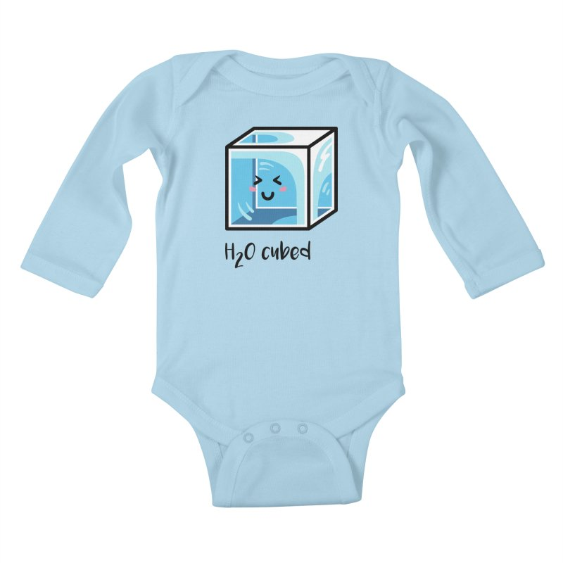 H2O Cubed Ice Block Chemistry Science Joke Kids Baby Longsleeve Bodysuit by Flaming Imp's Artist Shop