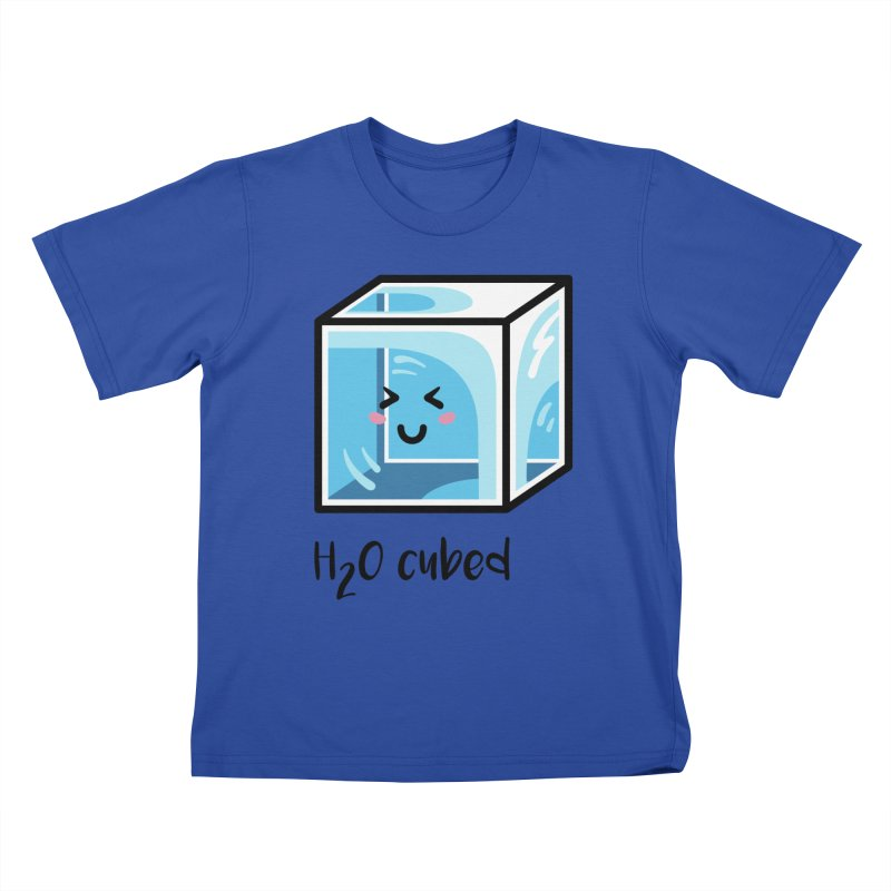 H2O Cubed Ice Block Chemistry Science Joke Kids T-Shirt by Flaming Imp's Artist Shop