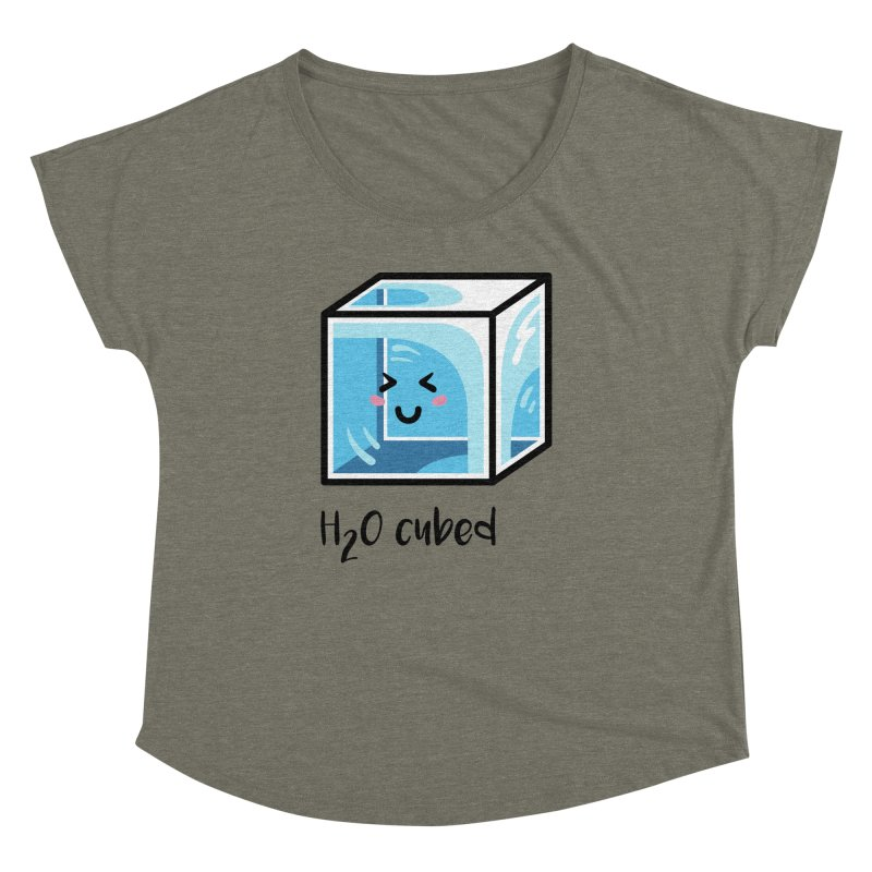 H2O Cubed Ice Block Chemistry Science Joke Women's Dolman Scoop Neck by Flaming Imp's Artist Shop