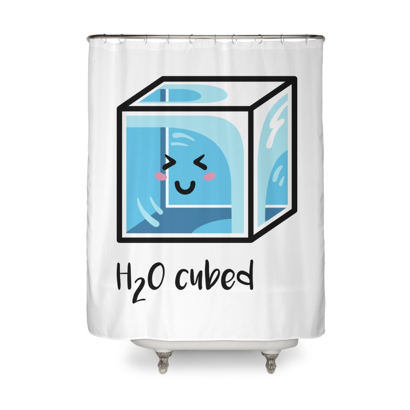 H2O Cubed Ice Block Chemistry Science Joke Home Shower Curtain by Flaming Imp's Artist Shop