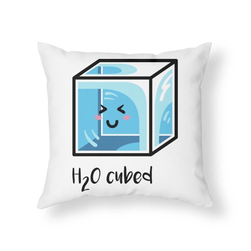 H2O Cubed Ice Block Chemistry Science Joke Home Throw Pillow by Flaming Imp's Artist Shop