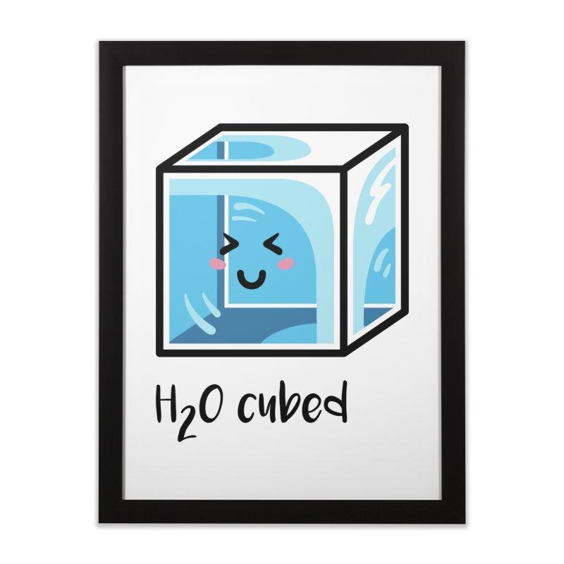 H2O Cubed Ice Block Chemistry Science Joke Home Framed Fine Art Print by Flaming Imp's Artist Shop
