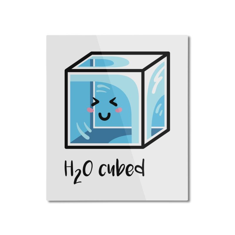 H2O Cubed Ice Block Chemistry Science Joke Home Mounted Aluminum Print by Flaming Imp's Artist Shop