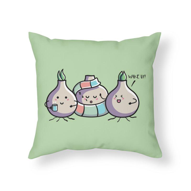 Kawaii Cute Spring Bulbs Home Throw Pillow by Flaming Imp's Artist Shop