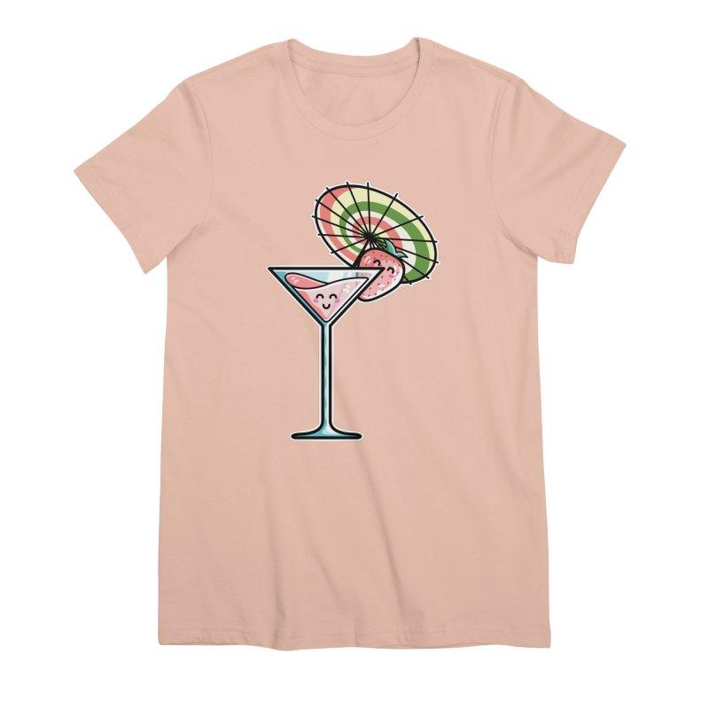 Kawaii Cute Kaylee's Strawberry Cocktail Women's Premium T-Shirt by Flaming Imp's Artist Shop
