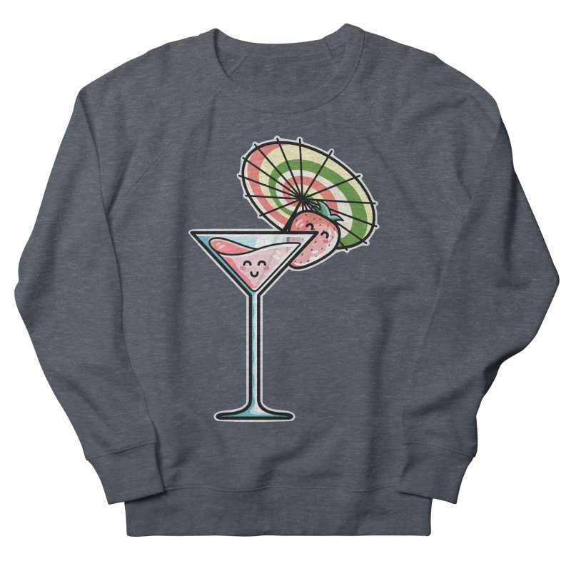 Kawaii Cute Kaylee's Strawberry Cocktail Men's French Terry Sweatshirt by Flaming Imp's Artist Shop