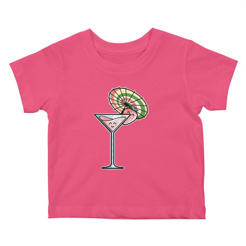 Kawaii Cute Kaylee's Strawberry Cocktail Kids Baby T-Shirt by Flaming Imp's Artist Shop