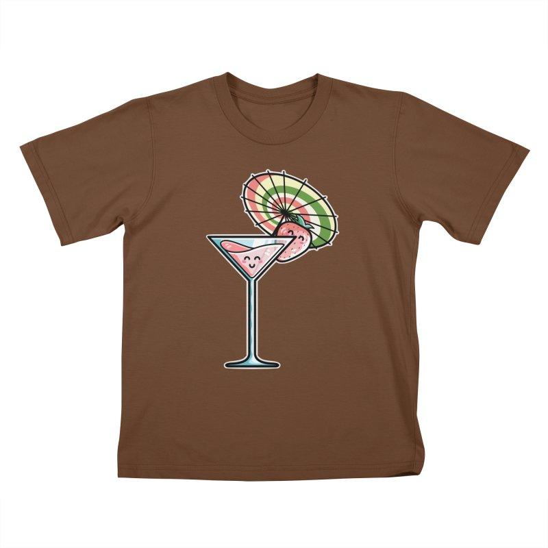 Kawaii Cute Kaylee's Strawberry Cocktail Kids T-Shirt by Flaming Imp's Artist Shop
