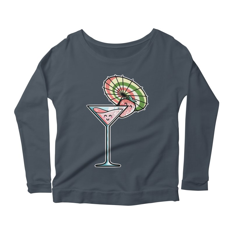 Kawaii Cute Kaylee's Strawberry Cocktail Women's Scoop Neck Longsleeve T-Shirt by Flaming Imp's Artist Shop