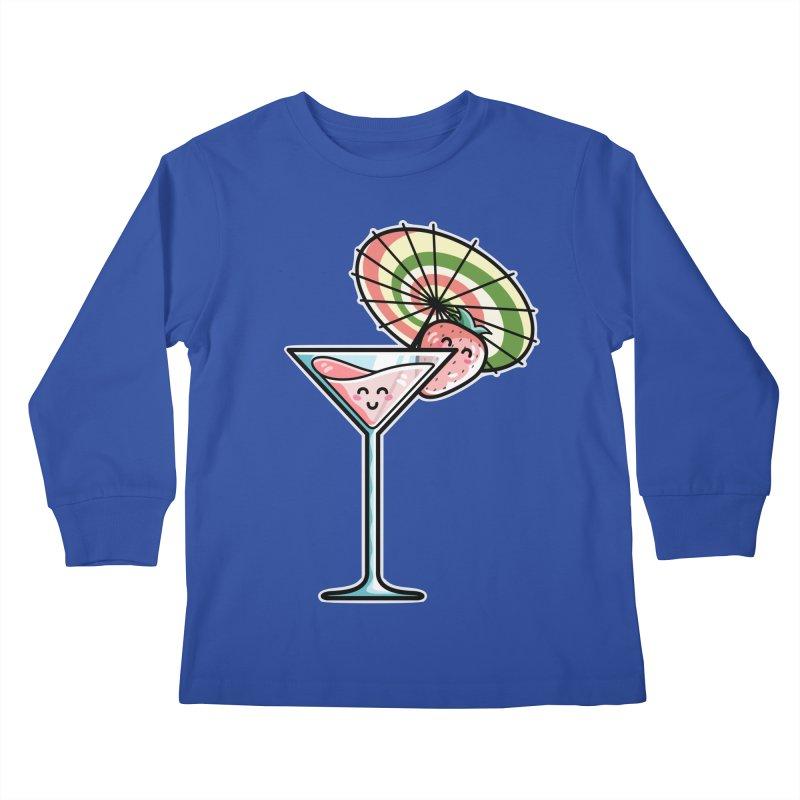 Kawaii Cute Kaylee's Strawberry Cocktail Kids Longsleeve T-Shirt by Flaming Imp's Artist Shop