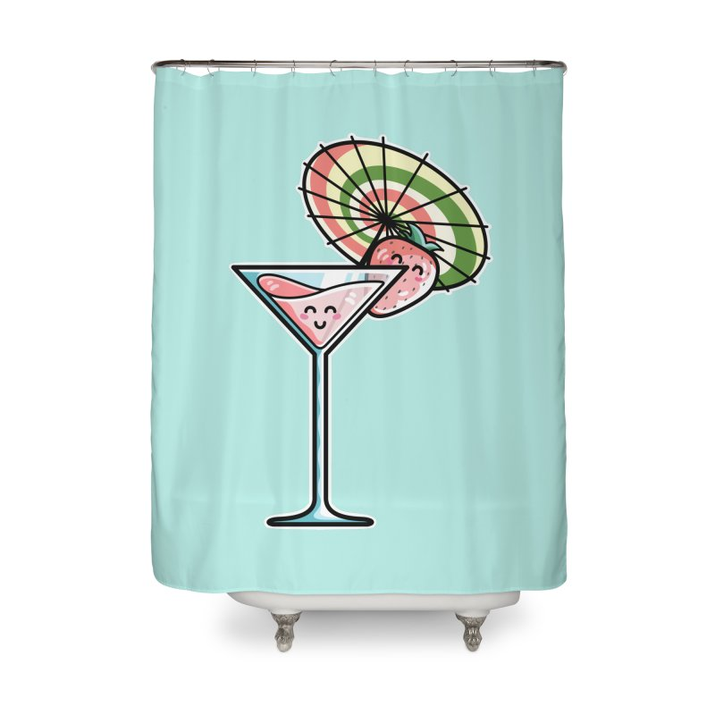 Kawaii Cute Kaylee's Strawberry Cocktail Home Shower Curtain by Flaming Imp's Artist Shop