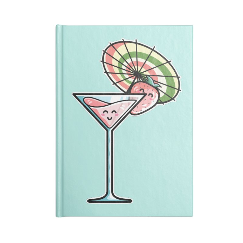 Kawaii Cute Kaylee's Strawberry Cocktail Accessories Blank Journal Notebook by Flaming Imp's Artist Shop