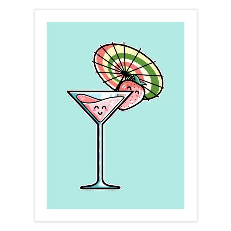 Kawaii Cute Kaylee's Strawberry Cocktail Home Fine Art Print by Flaming Imp's Artist Shop