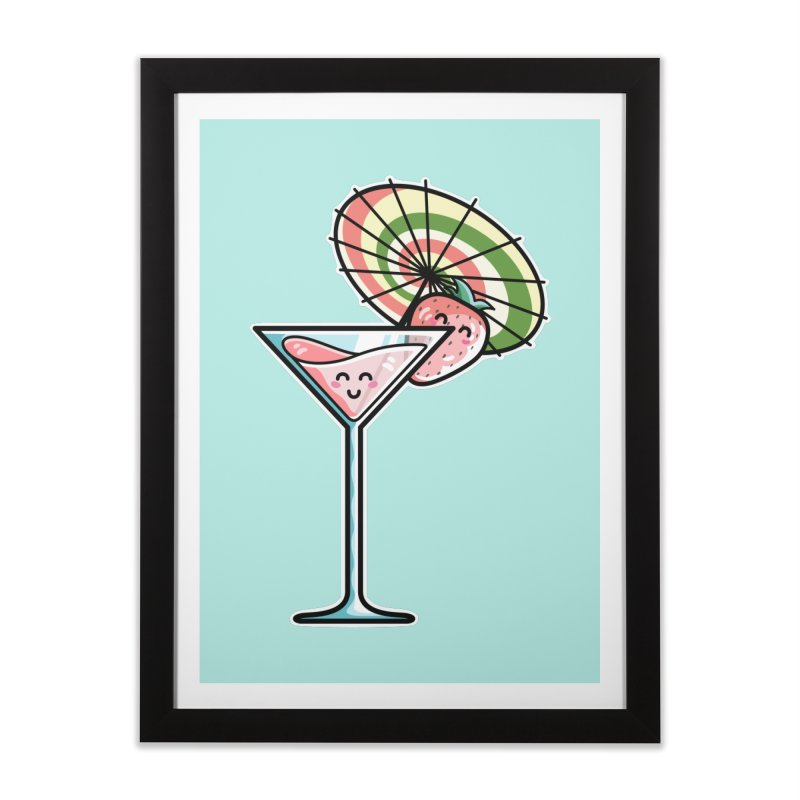 Kawaii Cute Kaylee's Strawberry Cocktail Home Framed Fine Art Print by Flaming Imp's Artist Shop