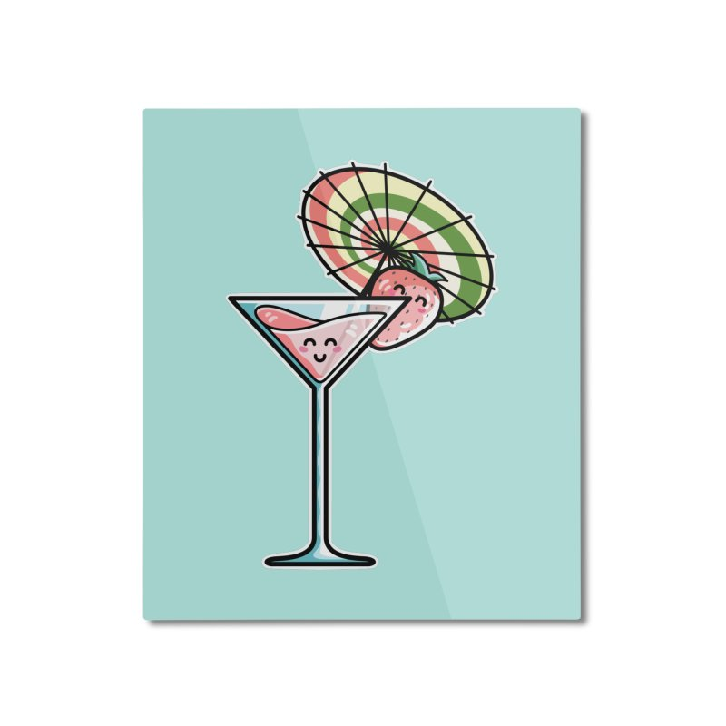 Kawaii Cute Kaylee's Strawberry Cocktail Home Mounted Aluminum Print by Flaming Imp's Artist Shop