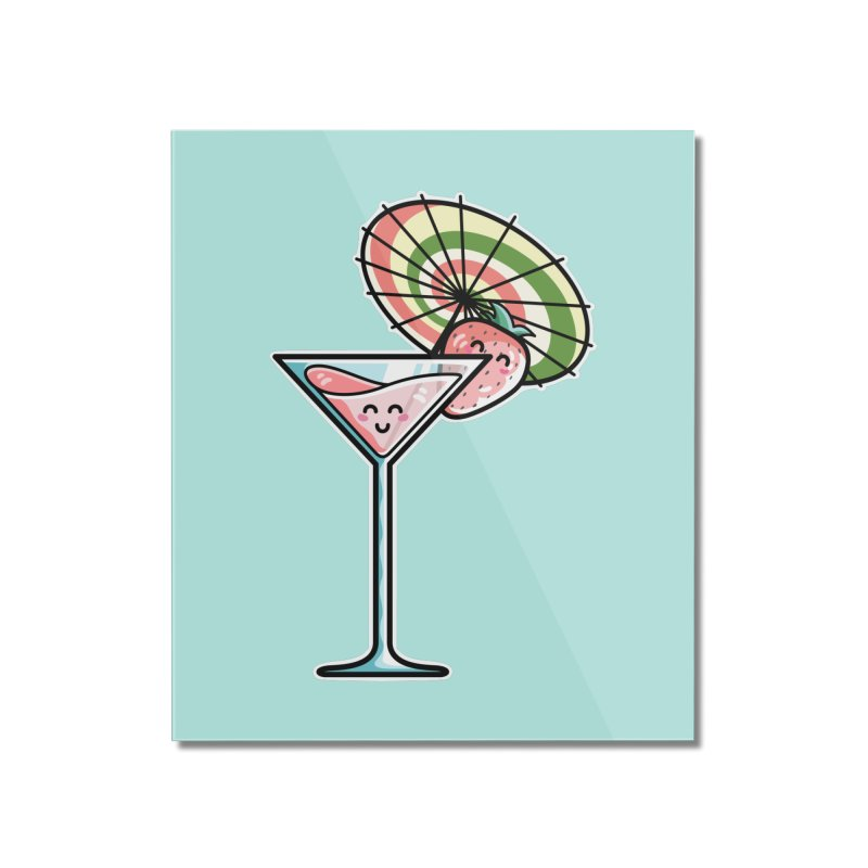 Kawaii Cute Kaylee's Strawberry Cocktail Home Mounted Acrylic Print by Flaming Imp's Artist Shop