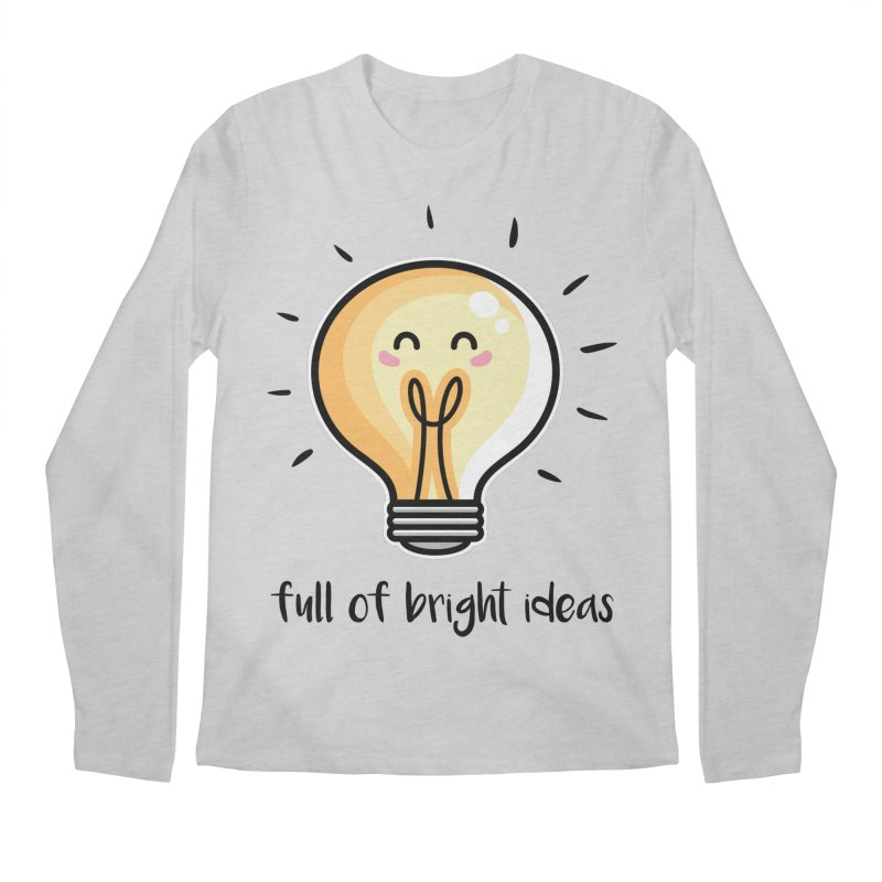 Kawaii Cute Lightbulb Of Bright Ideas Men's Regular Longsleeve T-Shirt by Flaming Imp's Artist Shop