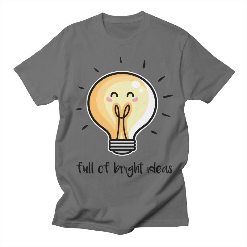 Kawaii Cute Lightbulb Of Bright Ideas Men's Regular T-Shirt by Flaming Imp's Artist Shop