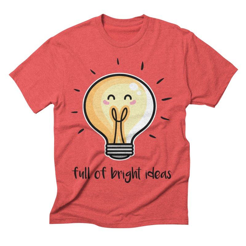 Kawaii Cute Lightbulb Of Bright Ideas Men's Triblend T-Shirt by Flaming Imp's Artist Shop