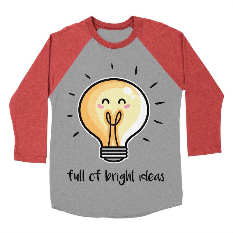 Kawaii Cute Lightbulb Of Bright Ideas Men's Baseball Triblend Longsleeve T-Shirt by Flaming Imp's Artist Shop
