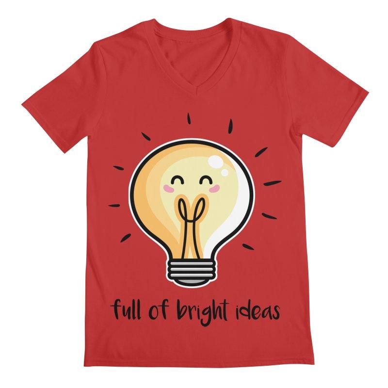 Kawaii Cute Lightbulb Of Bright Ideas Men's Regular V-Neck by Flaming Imp's Artist Shop