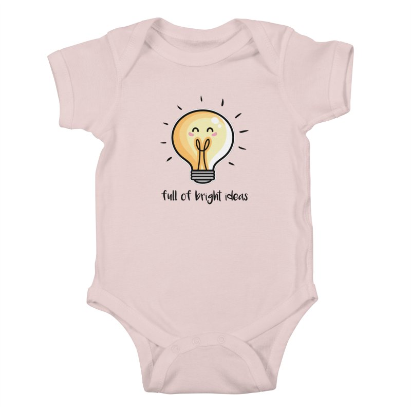 Kawaii Cute Lightbulb Of Bright Ideas Kids Baby Bodysuit by Flaming Imp's Artist Shop
