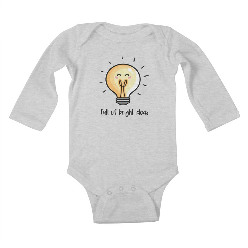 Kawaii Cute Lightbulb Of Bright Ideas Kids Baby Longsleeve Bodysuit by Flaming Imp's Artist Shop