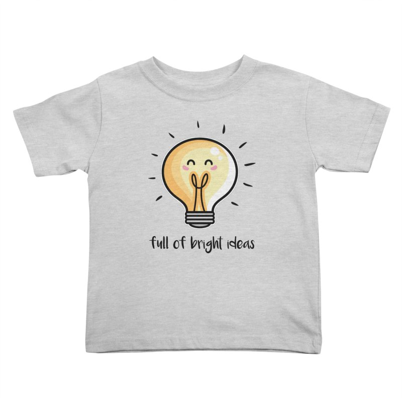 Kawaii Cute Lightbulb Of Bright Ideas Kids Toddler T-Shirt by Flaming Imp's Artist Shop
