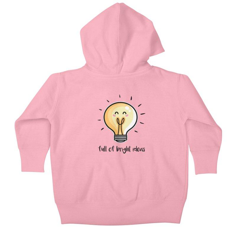 Kawaii Cute Lightbulb Of Bright Ideas Kids Baby Zip-Up Hoody by Flaming Imp's Artist Shop