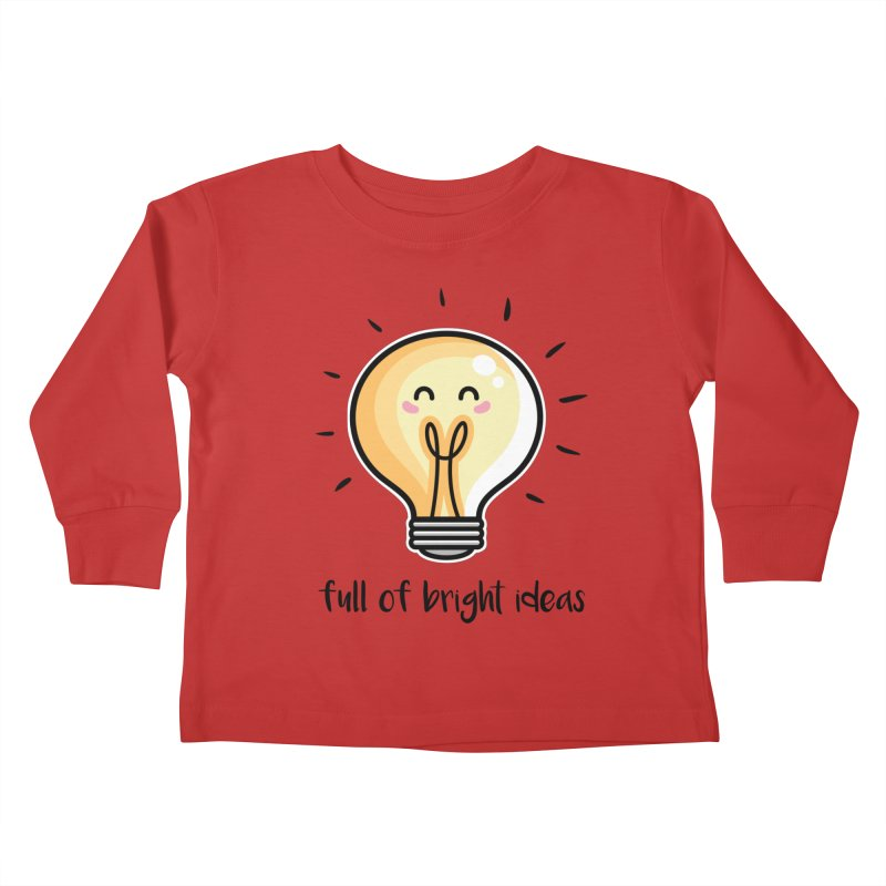 Kawaii Cute Lightbulb Of Bright Ideas Kids Toddler Longsleeve T-Shirt by Flaming Imp's Artist Shop