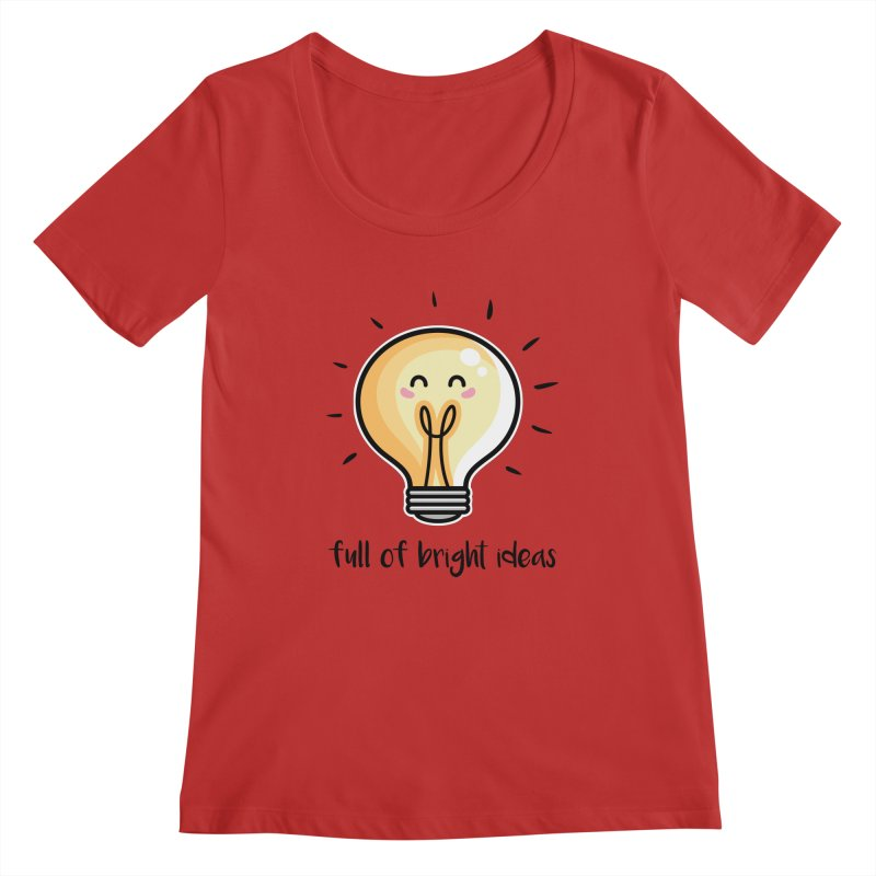 Kawaii Cute Lightbulb Of Bright Ideas Women's Regular Scoop Neck by Flaming Imp's Artist Shop