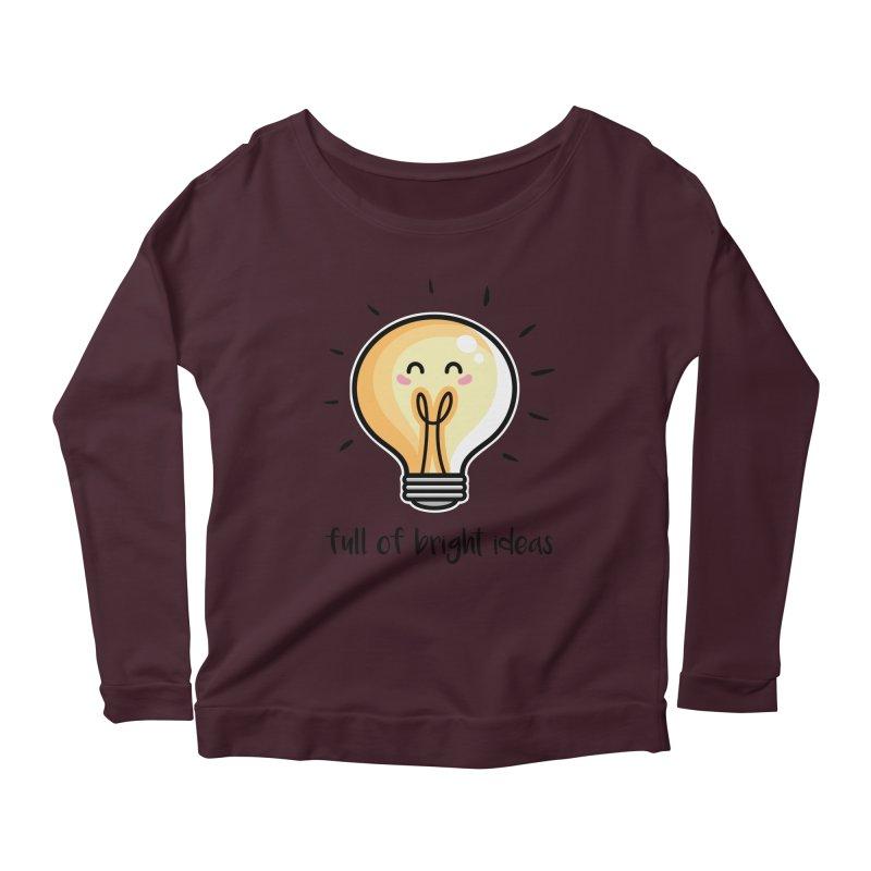 Kawaii Cute Lightbulb Of Bright Ideas Women's Scoop Neck Longsleeve T-Shirt by Flaming Imp's Artist Shop