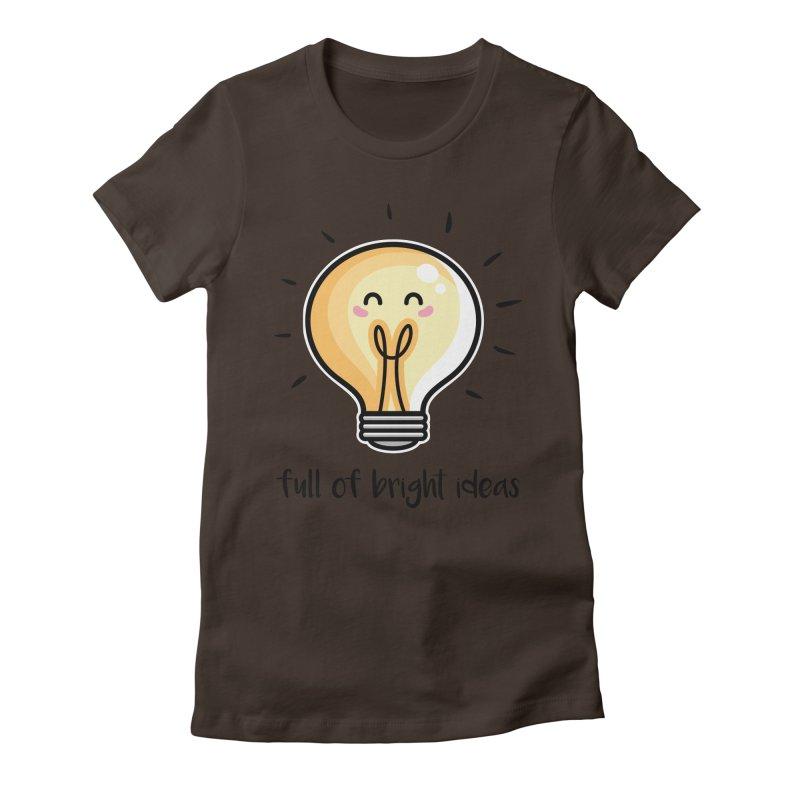 Kawaii Cute Lightbulb Of Bright Ideas Women's Fitted T-Shirt by Flaming Imp's Artist Shop