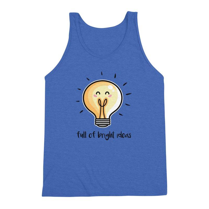 Kawaii Cute Lightbulb Of Bright Ideas Men's Triblend Tank by Flaming Imp's Artist Shop