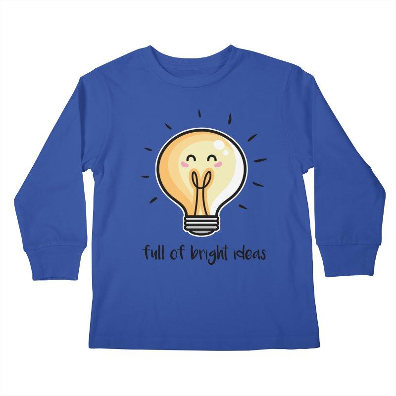 Kawaii Cute Lightbulb Of Bright Ideas Kids Longsleeve T-Shirt by Flaming Imp's Artist Shop