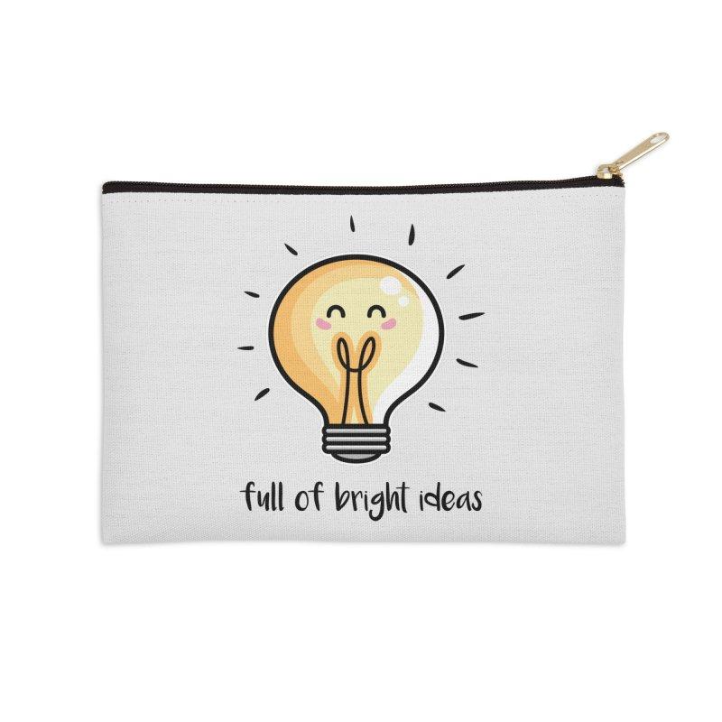 Kawaii Cute Lightbulb Of Bright Ideas Accessories Zip Pouch by Flaming Imp's Artist Shop