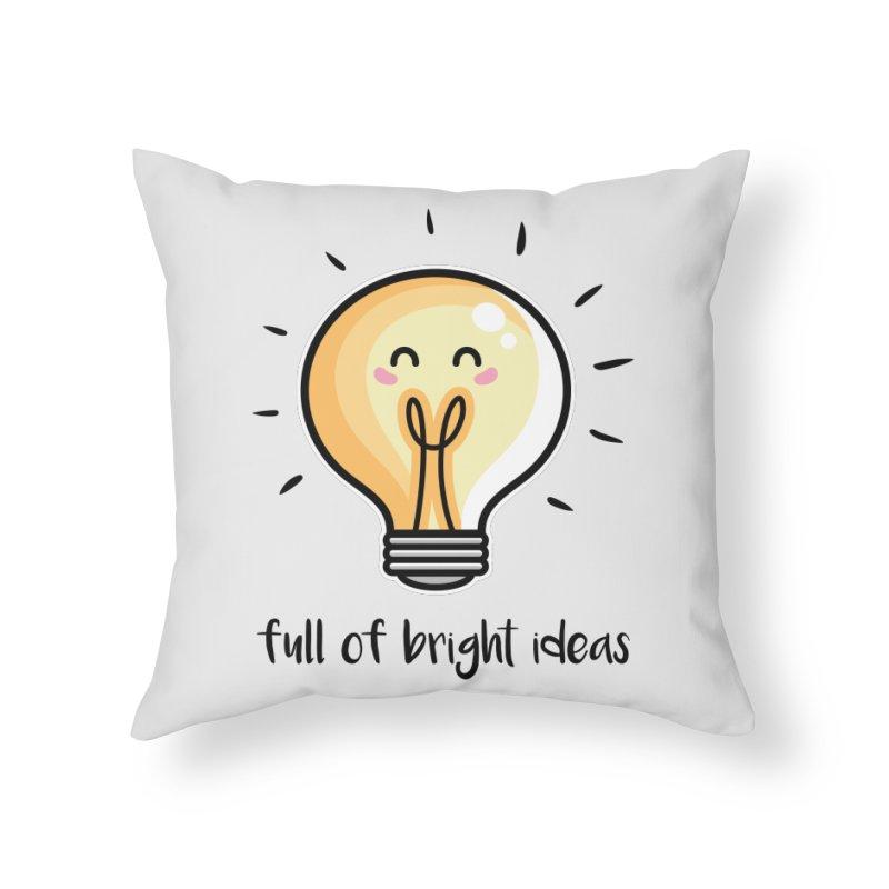 Kawaii Cute Lightbulb Of Bright Ideas Home Throw Pillow by Flaming Imp's Artist Shop