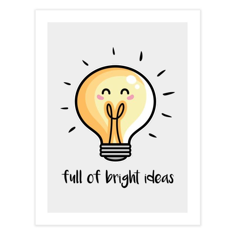 Kawaii Cute Lightbulb Of Bright Ideas Home Fine Art Print by Flaming Imp's Artist Shop
