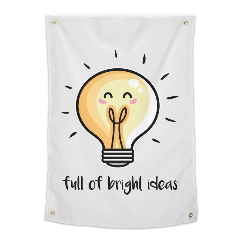 Kawaii Cute Lightbulb Of Bright Ideas Home Tapestry by Flaming Imp's Artist Shop