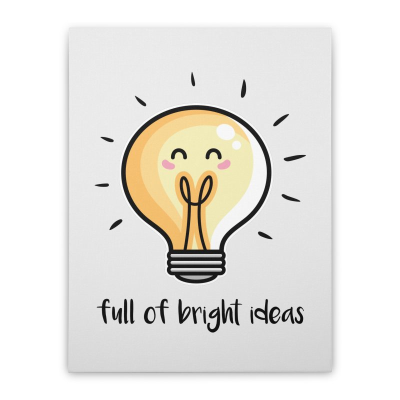 Kawaii Cute Lightbulb Of Bright Ideas Home Stretched Canvas by Flaming Imp's Artist Shop