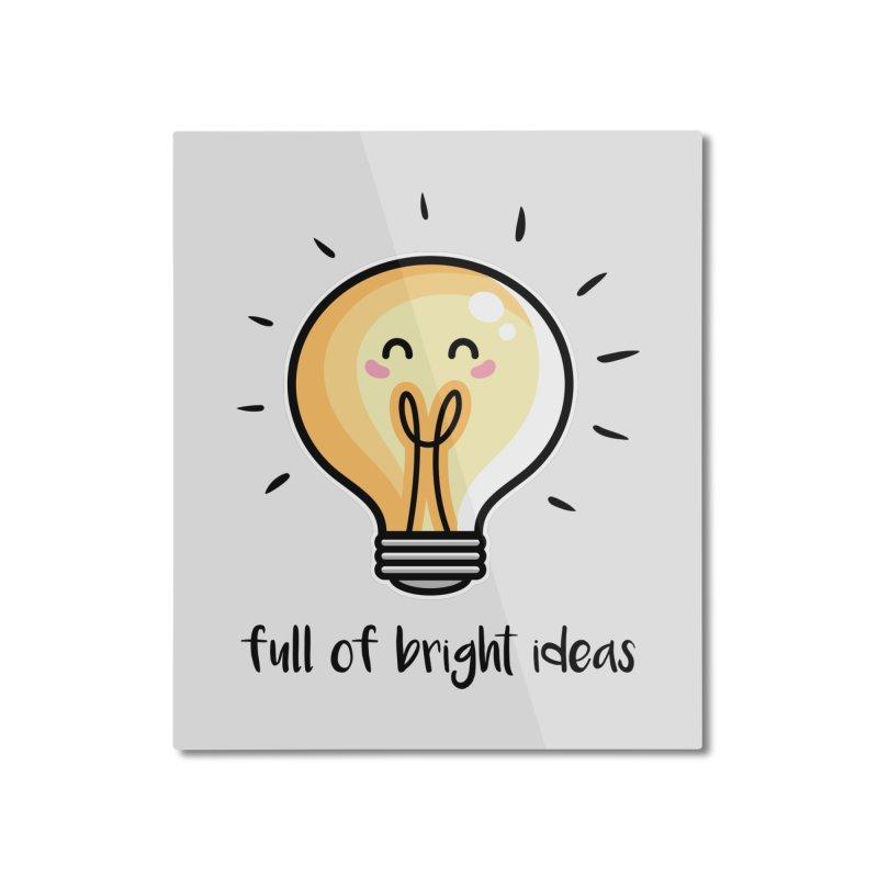 Kawaii Cute Lightbulb Of Bright Ideas Home Mounted Aluminum Print by Flaming Imp's Artist Shop